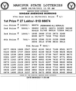 Manipur State Lottery Result (08.09.2021) Out now 11:55 AM pdf download