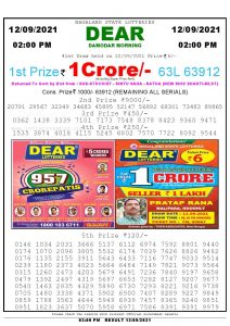 Lottery Sambad Live Result 8pm 12/09/2021 Evening Nagaland State Lottery Result Pdf Download