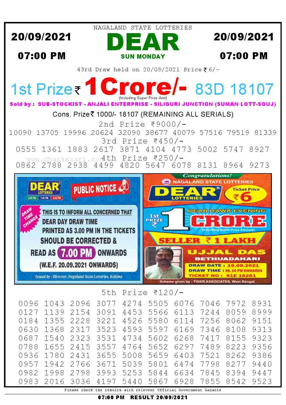 Lottery Sambad Live today 6pm 20/09/2021 Nagaland State Lottery Result Pdf File Download