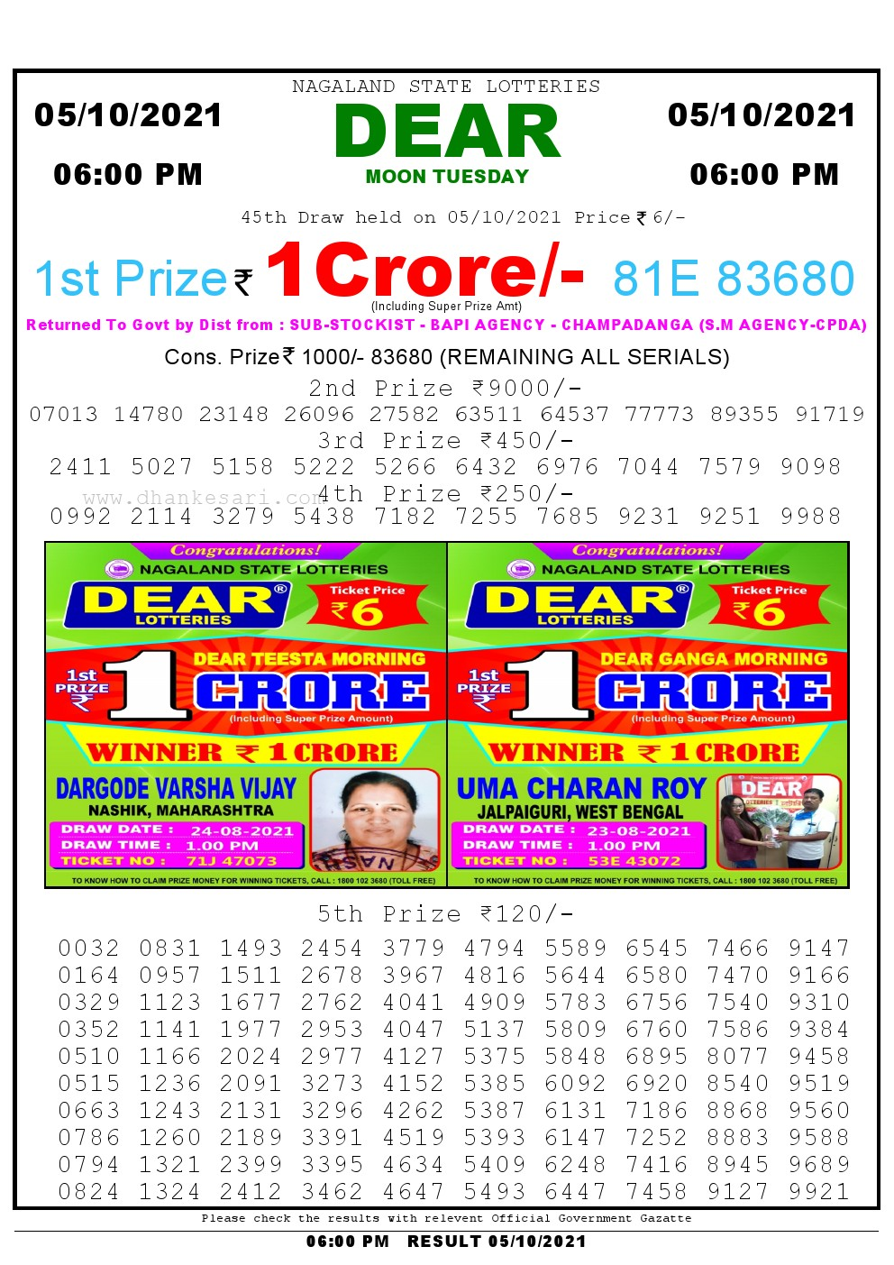 Lottery Sambad Live Result 6pm 05/10/2021 day Nagaland State Lottery Result Pdf Download
