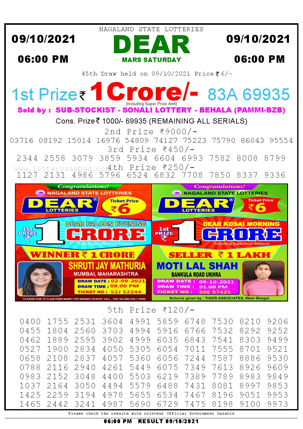 Lottery Sambad Live Result 6pm 09/10/2021 day Nagaland State Lottery Result Pdf Download